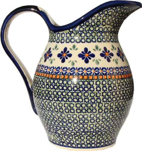 Polish Pottery Pitcher 1.8 Qt. From Zaklady Ceramiczne Boleslawiec #1160-du60 Unikat Pattern, Height: 7.9'' Capacity: 1.8 Qt.