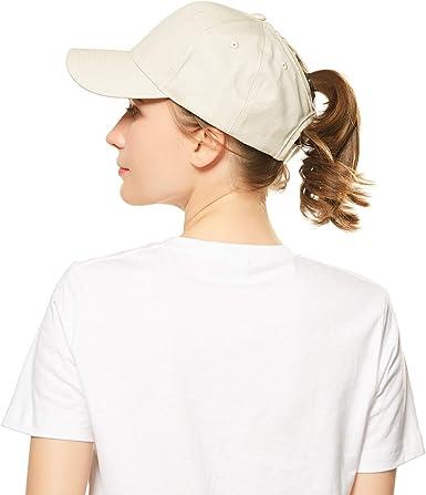 Amkun Ponytail Baseball Cap Hat Ponycaps Messy Ponytail Adjustable Outdoor Cap Trucker Dad Hat for Women Men