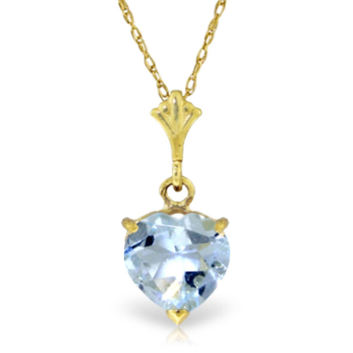 ALARRI 1.15 CTW 14K Solid Gold Love Foundation Aquamarine Necklace with 18 Inch Chain Length
