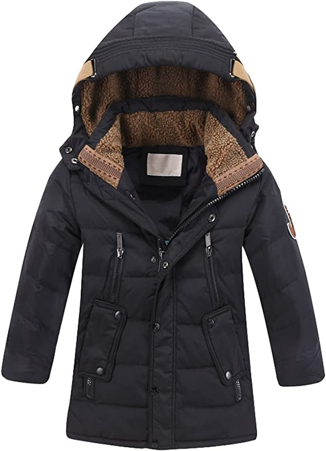 Height 85-135CM SANMIO Boy Coat Winter Boys Hooded Jacket Down Autumn Winter Fur Lining Thick Warm Zipper Trench Coat Clothes