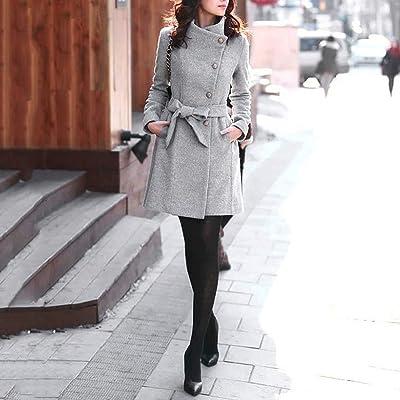Abrigo de Lana de Invierno para Mujer de Solapa Trench Chaquetas Abrigo de Manga Larga Outwear Abrigo Formal de Negocios para Mujer Slim Trench Parka Jacket: Ropa y accesorios