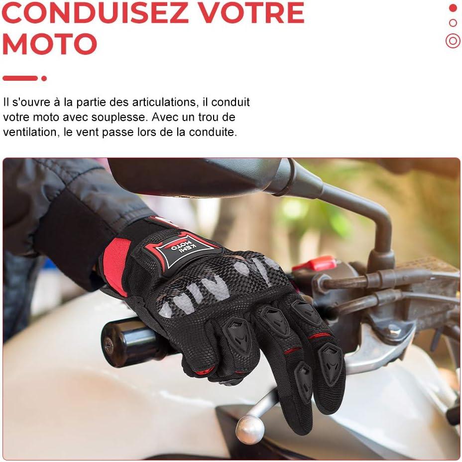Gants de Moto Anti-Glissant Femme et Homme pour Motocross Gants Moto Homologu/és CE 1KP Gant Moto Homme Respirant /à /Écran Tactile Plein-Doigt pour la Course de Moto Gants Scooter avec Protection de Fibres de Carbone