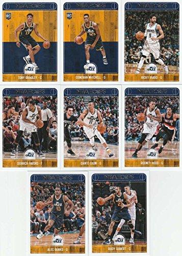 2017-18 Panini NBA Hoops Utah Jazz Team Set of 8 Cards: Rudy Gobert(#82), Derrick Favors(#84), Dante Exum(#85), Rodney Hood(#86), Alec Burks(#87), Ricky Rubio(#218), Donovan Mitchell(#263), Tony Bradley(#278)