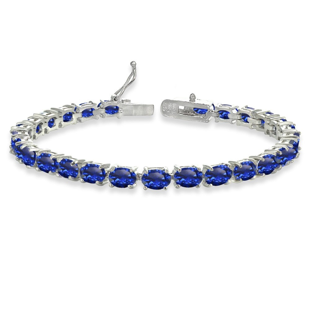 Sterling Silver 6X4mm Created Blue Sapphire Oval-cut Tennis Bracelet