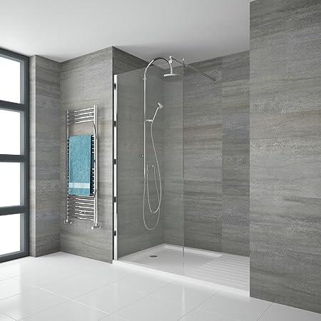 Hudson Reed Mampara Portland – endpaneel para cabinas de ducha de cristal de seguridad con marco de aluminio – 800 mm: Amazon.es: Hogar