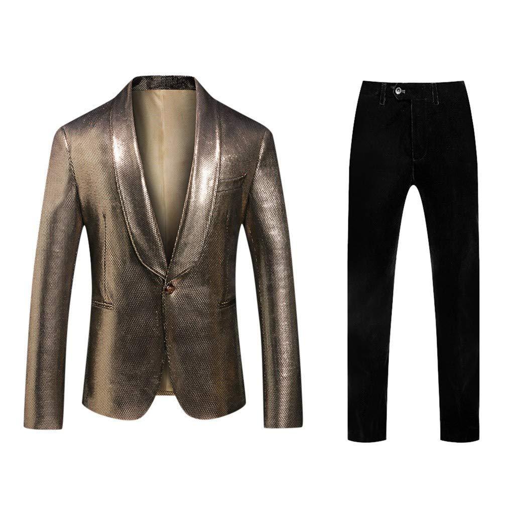 Men's 2-Piece Slim Fit Suit Set for Business Wedding Party Plus Size Turn-Down Collar Fashion Elegant Jacket & Pants for Men Daorokanduhp