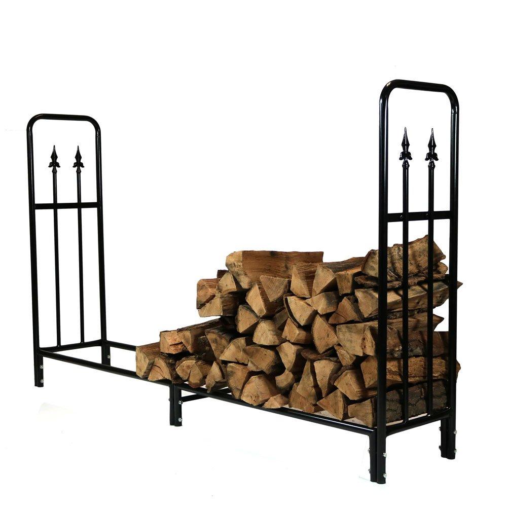 Sunnydaze 6 Foot Firewood Log Rack, Decorative Steel Outdoor Wood Storage Holder, Black