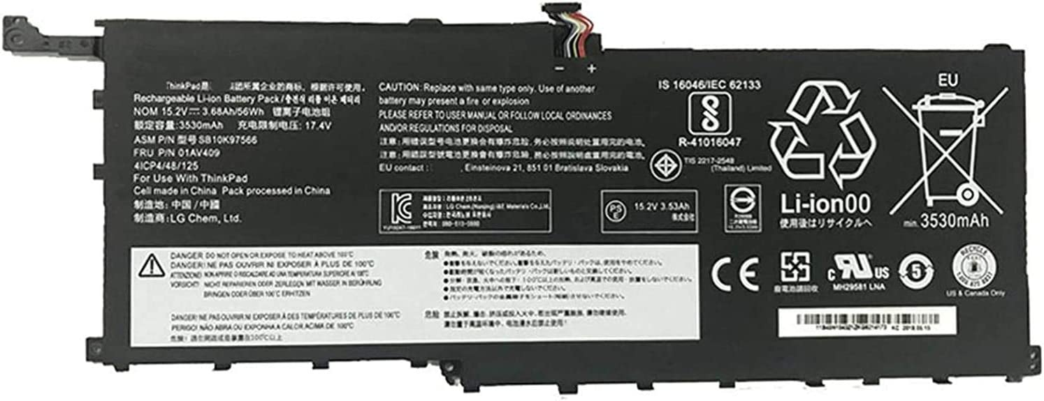 FLIW 00HW028 Replacement Battery Compatible with Lenovo Thinkpad X1 Carbon 4th Gen 2016 / ThinkPad X1 Yoga 1st 2nd Ultrabook, P/N: 00HW029 SB10F46466 SB10F46467 SB10K97566 01AV438 [15.2V 56Wh]