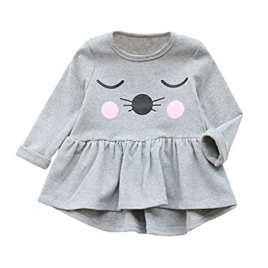 737cc8273a3f Voberry Toddler Kids Baby Girls Cotton Clothes Long Sleeve Cat ...