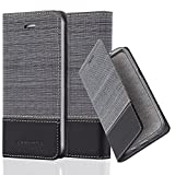 Cadorabo Case works with Apple iPhone 5/iPhone 5S/iPhone SE Book Case in GREY BLACK (Design FABRIC-FAUXLEATHER) – with Magnetic Closure, Stand Function and Card Slot – Wallet Etui Cover