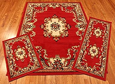 Rug and Decor Elements Collection 3 Piece Area Rug Set Area Rug Scatter and Runner #8223 Claret Red Oriental Rug Set