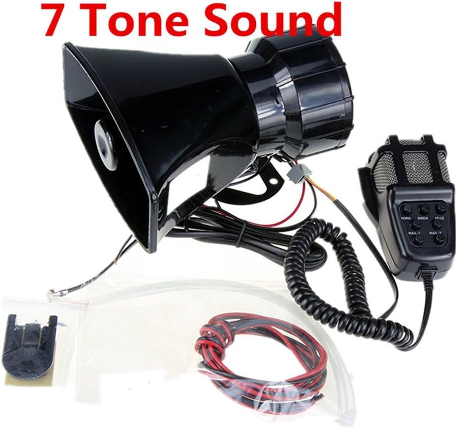 Altavoz de altavoz de la sirena de la policía del coche del amplificador de sonido del cuerno del coche con el sistema de altavoz del PA PA tono del altavoz 12V 80W 7 canales