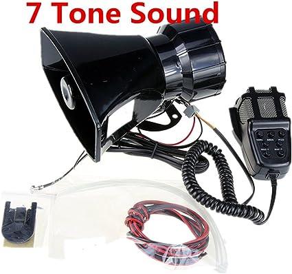 Yida - Sirena de 12 V 80 W con 7 tonos para vehículos, con micrófono y sistema de altavoces y amplificador de sonido de emergencia: Amazon.es: Coche y moto