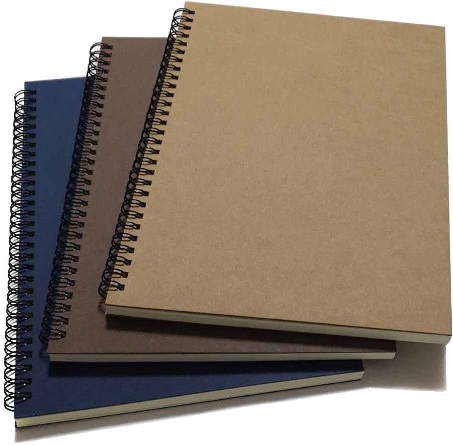 """YUREE Spiral Notebook/Spiral Journal Lined, B5 Hard Kraft Cover Wire Bound Notebook Ruled, 70 Sheets (140 Pages), 10.5"""" x 7.3"""", 3 Notebooks Per Pack, Dark Brown/Blue/Brown"""
