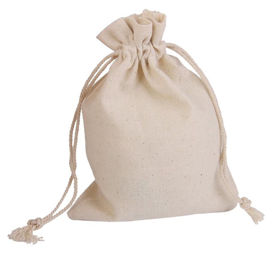 呼ぶ乗って人種コットン 巾着袋 ジュエリーポーチ ギフトバッグ キャンディ 小物入れ ラッピング プレゼント用 収納袋 50枚 11.7cm × 9.7cm (無地)