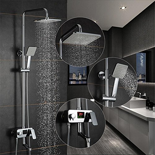 hot sale GAOF Digital Display Shower Faucet Powered Digital Display Shower Set No Need Battery 8 Inch Rain Shower Head Tub Mixer Faucet 9200