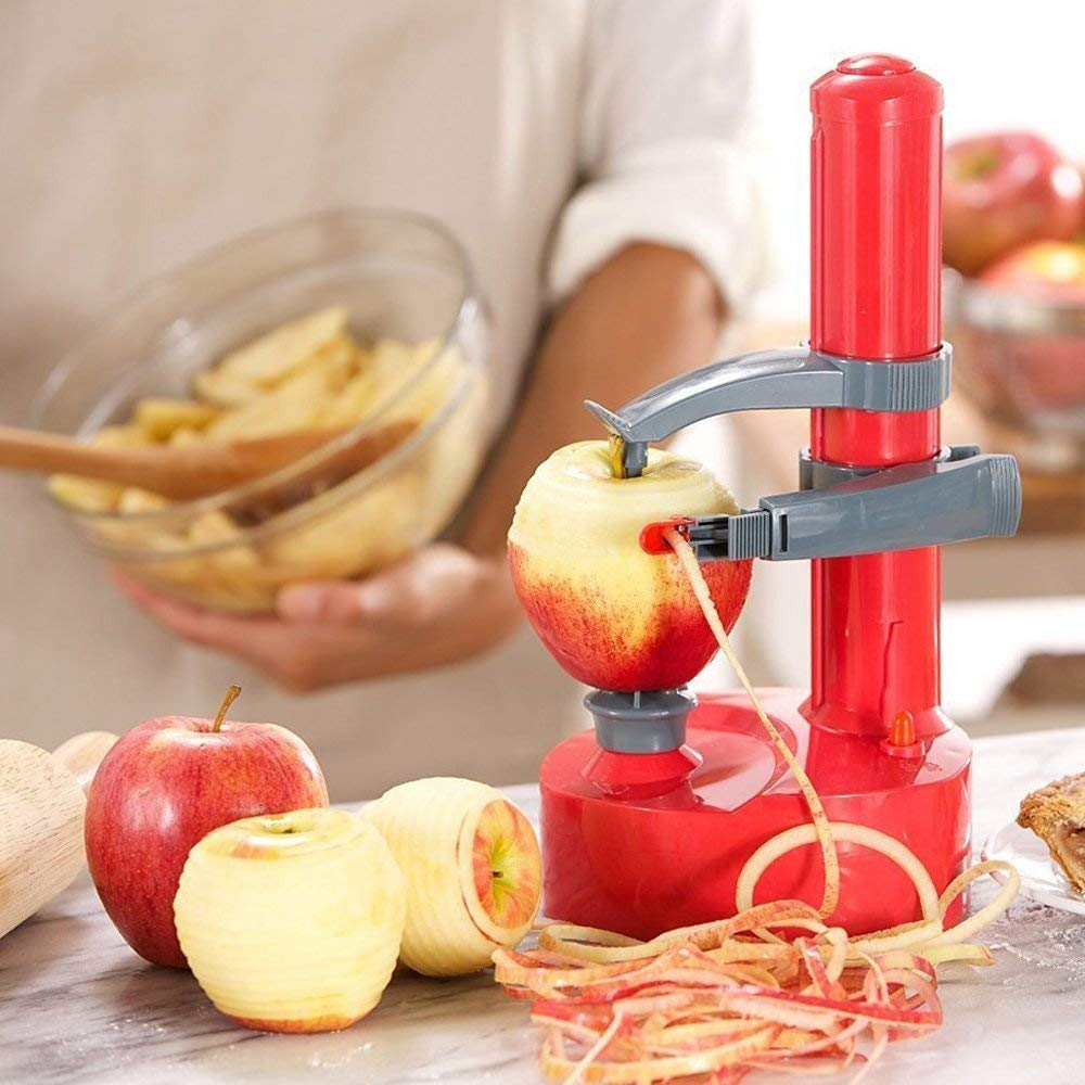 Multifunctional Electric Automatic Peeler - Rotato Express,Multi-function Fruit and Vegetable Peeling Machine Planing Knife Corer[2 Extra Blades] (red) by LUCKSTAR