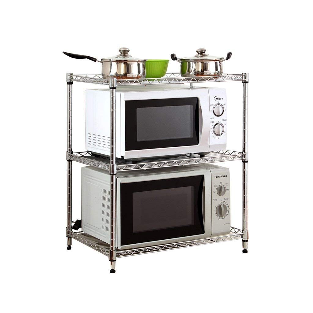 The New Kitchen Microwave Oven Racks 3-Layer Plastic Floor-Mounted White Multifunction Free Punch Seasoning Rack Oven Rack Supplies Storage Rack Organize Storage Rack Daily Necessities (Size:56cm)