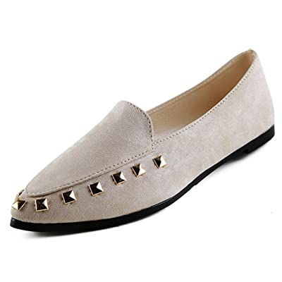 AMA(TM) Women's Rivet Pointy Toe Loafers Casual Slip on Low Cut Flats Shoes (US:6, Gray)