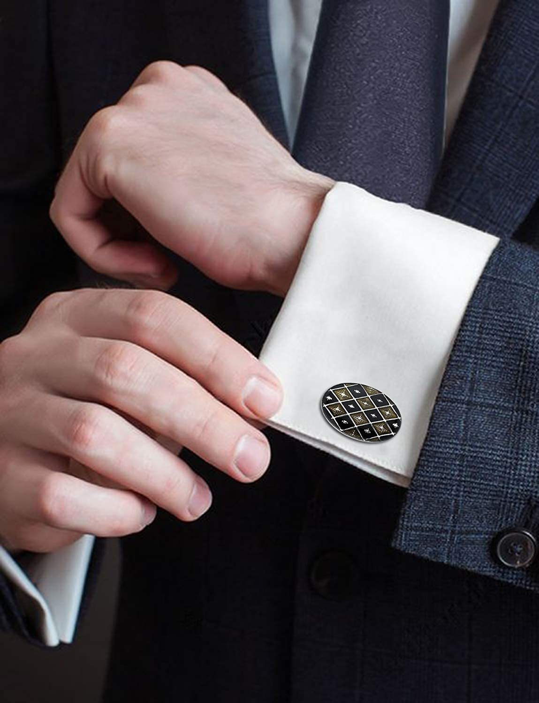 Diamond Pattern With Bold Stripe Cufflinks