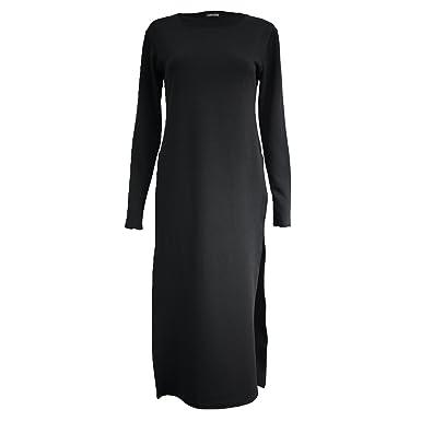 2f6f25d06f5 New Ladies HIGH Split Side Slit Long Sleeve TOP Women MIDI Dress Maxi Crepe  Look Tunic