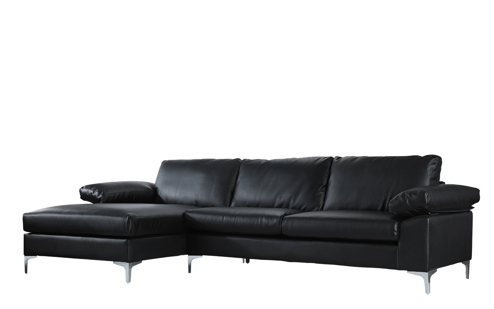 Casa Andrea Modern Large Faux Leather Sectional Sofa, L-Shape Couch with Extra Wide Chaise Lounge (Black) by Casa Andrea