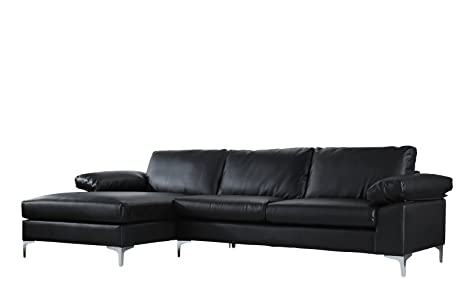 Casa Andrea Modern Large Faux Leather Sectional Sofa, L-Shape Couch with  Extra Wide Chaise Lounge (Black)