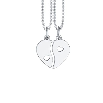 Split heart necklace couples two halves of a heart with i love you split heart necklace couples two halves of a heart with quoti love you aloadofball Gallery