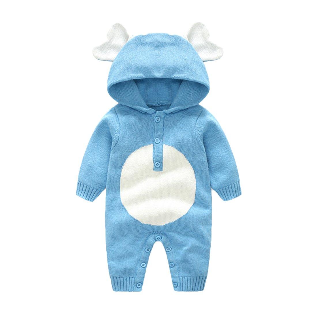 GWELL Baby Kleinkind Gestrickter Strampler Overall Jumpsuit aus Baumwolle Tieroutfit Tier Kostüm mit Kapuze für Jungen Mädchen 0-2 Jahre