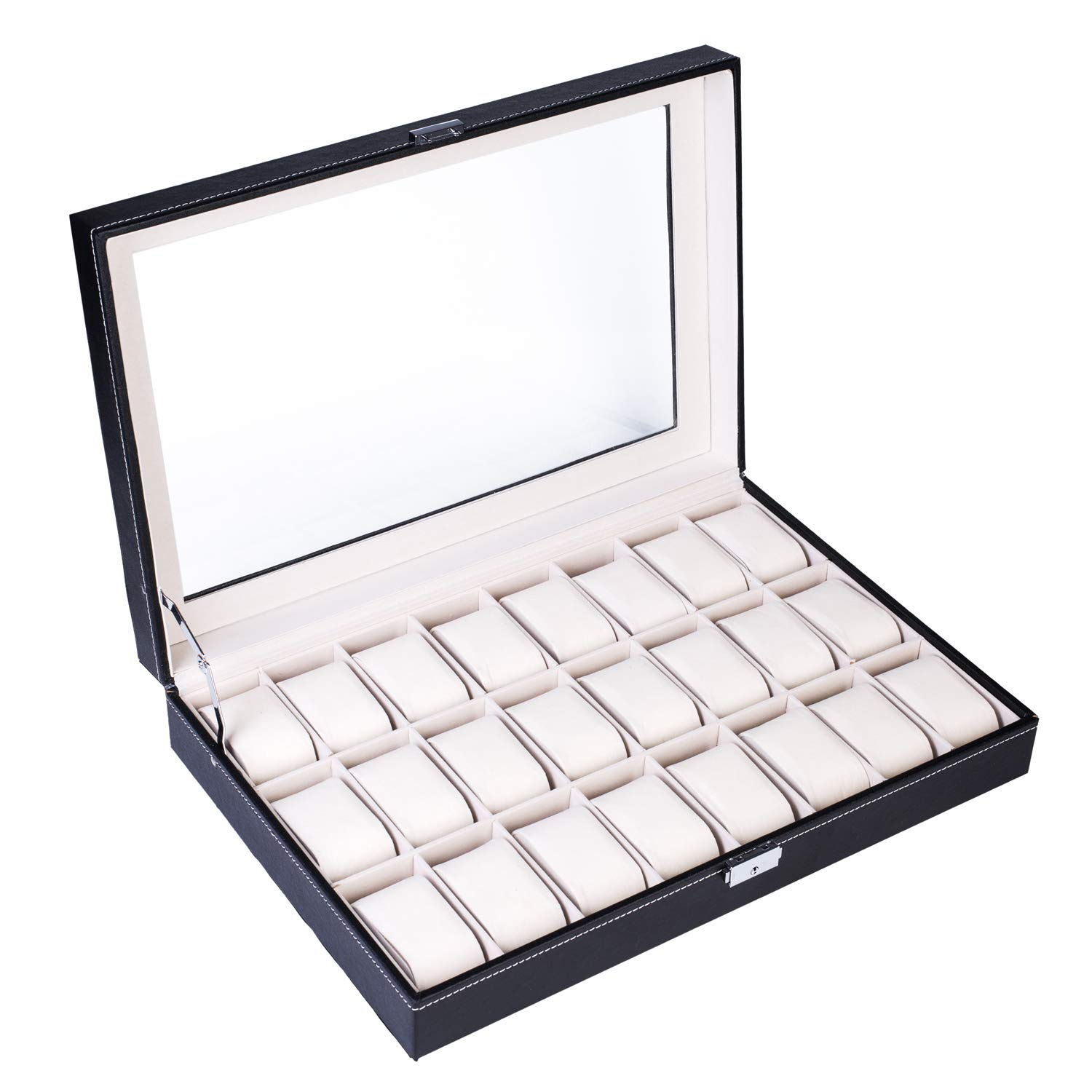 24 Slot Elegant Portable Black Watch Collection Box Case Organizer for Storage Display Holds Watches Jewelry for Men & Women
