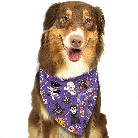 Pañuelos para Mascotas, Dibujos Animados Lindo, patrón de Halloween, Collares Ajustables, pañuelos