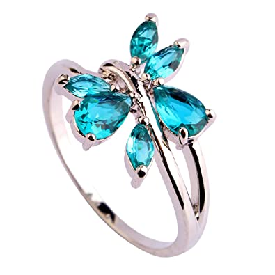 LingMei Womenu0027s Costume Jewelry Butterfly Shaped Pear Cut Emerald Green Stone Silver Plated Ring US Size  sc 1 st  Amazon.com & Amazon.com: LingMei Womenu0027s Costume Jewelry Butterfly Shaped Pear ...