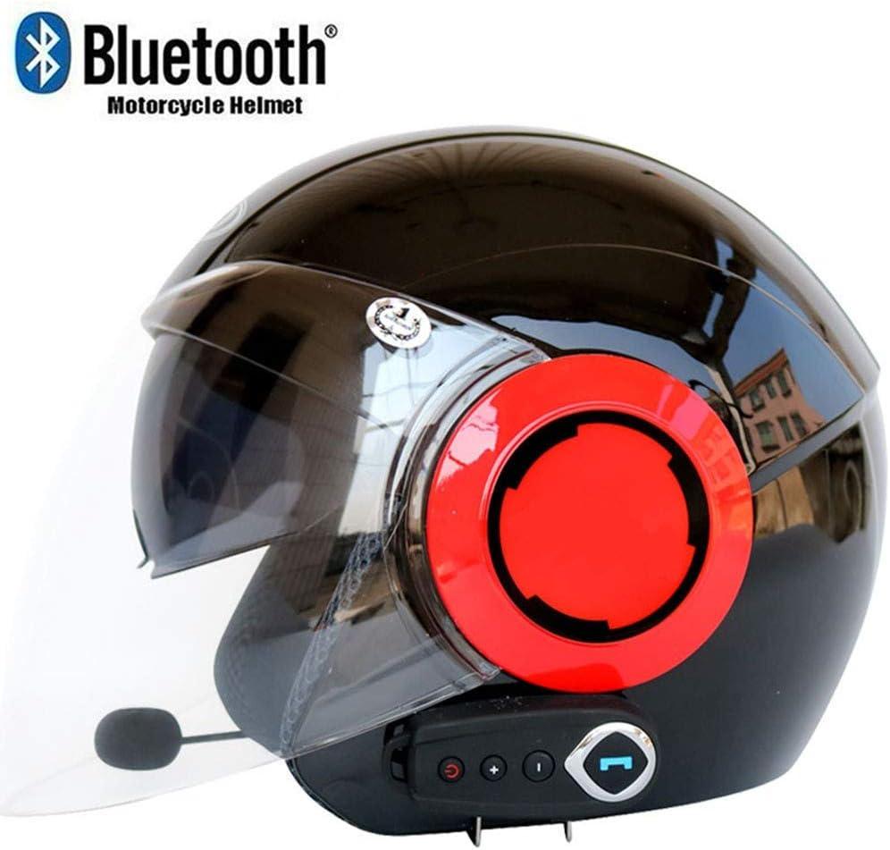 Casco Moto Abierto Bluetooth Casco Moto Jet con Micrófono Incorporado para Respuesta Automática,ECE Homologado Casco Moto Scooter con Doble Visera