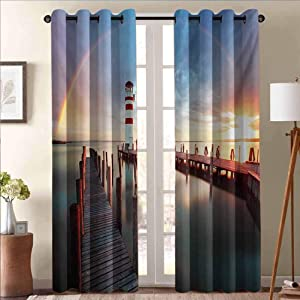 ScottDecor Lighthouse Heat Absorbing Curtain Energy Efficient Room Darkening Home Sunset at Seaside Wooden Docks Lighthouse Clouds Rainbow Waterfront Reflection Multicolor 38