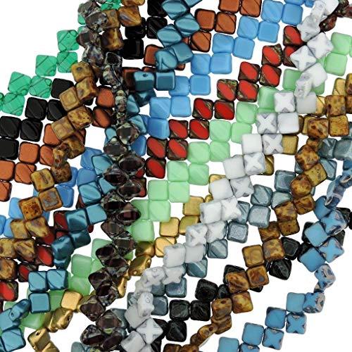 Value Pack - 10 Strands - Czech Silky Beads Glass 2-Hole Diamond-Shape Beads 6mm, 40bds/str (400 Beads Total), Assortment
