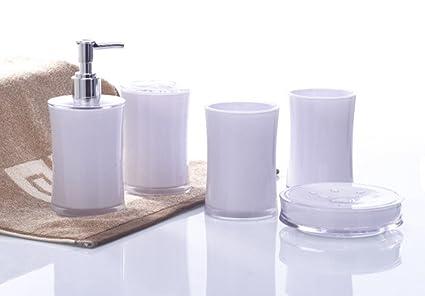 yiyida 5pcs acrílico elegante accesorios de baño set Dispensador de jabón  plato soporte para cepillo para 0eb580ff30d1