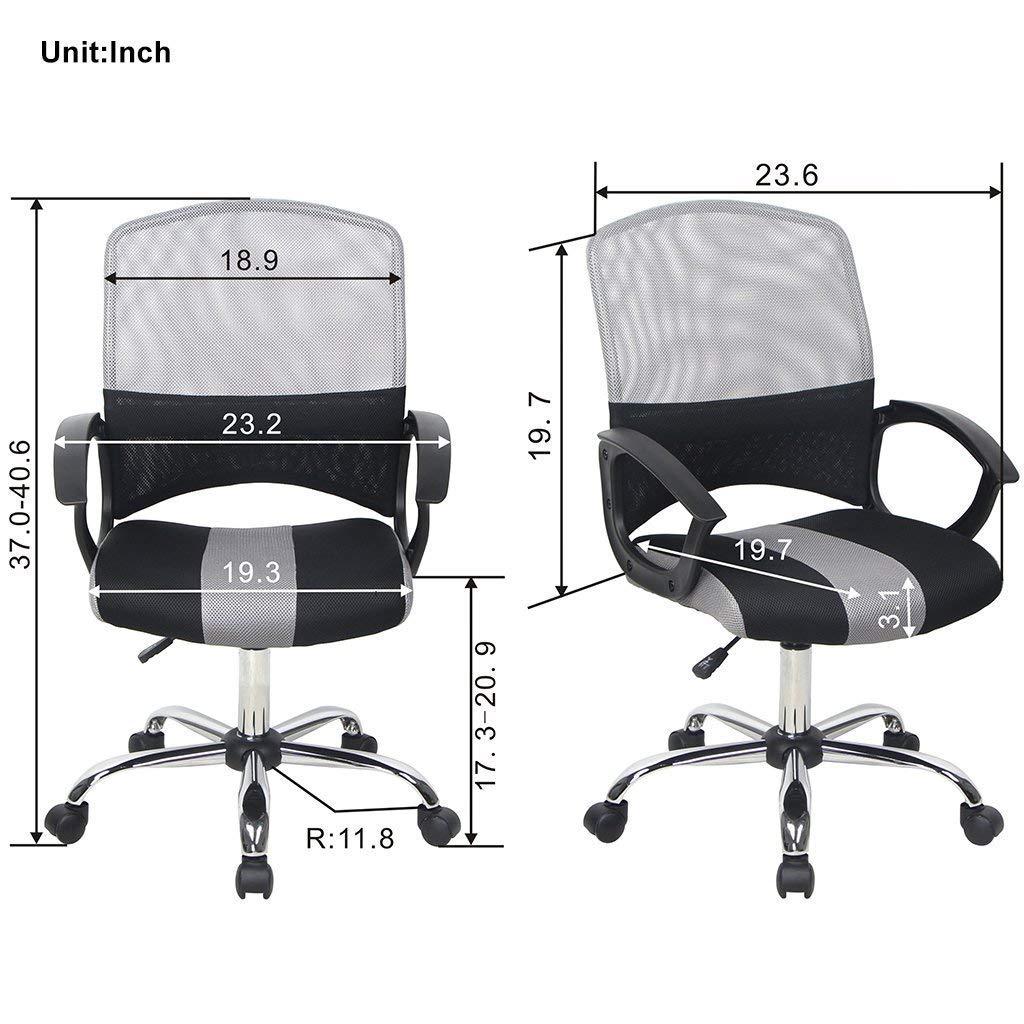 Smugdesk Office Chair Ergonomic Adjustable Desk Chair Mid Back Mesh Task Chair, Gray and Black – Leaden Grey