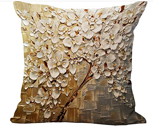 Oil Painting Black Large Tree and Flower Birds Cotton Linen Throw Pillow Case Cushion Cover Home Sofa Decorative 18 X 18 Inch ()
