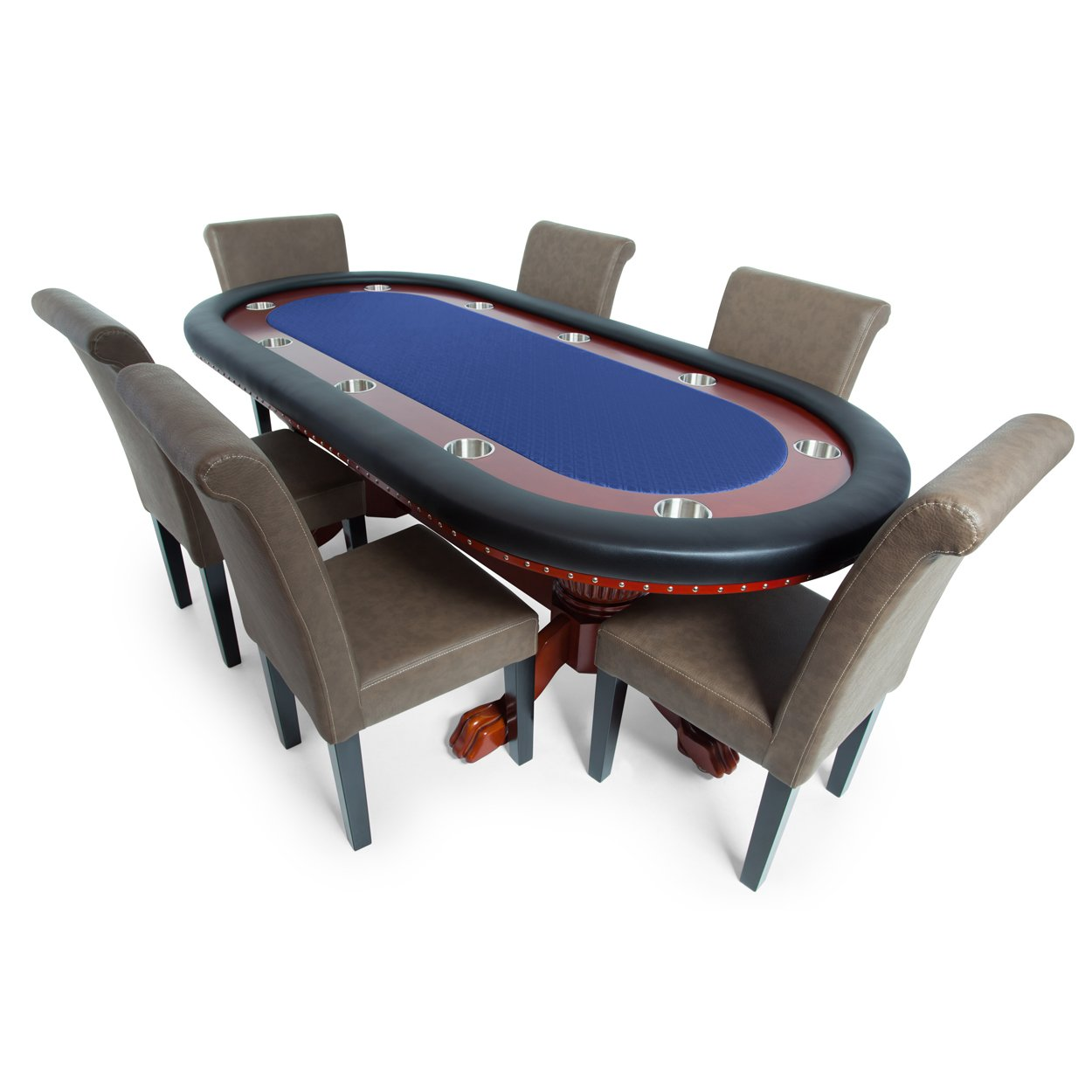 BBO Poker Rockwell Poker Table for 10 Players with Blue Speed Cloth Playing Surface, 94 x 44-Inch Oval, Includes 6 Lounge Chairs