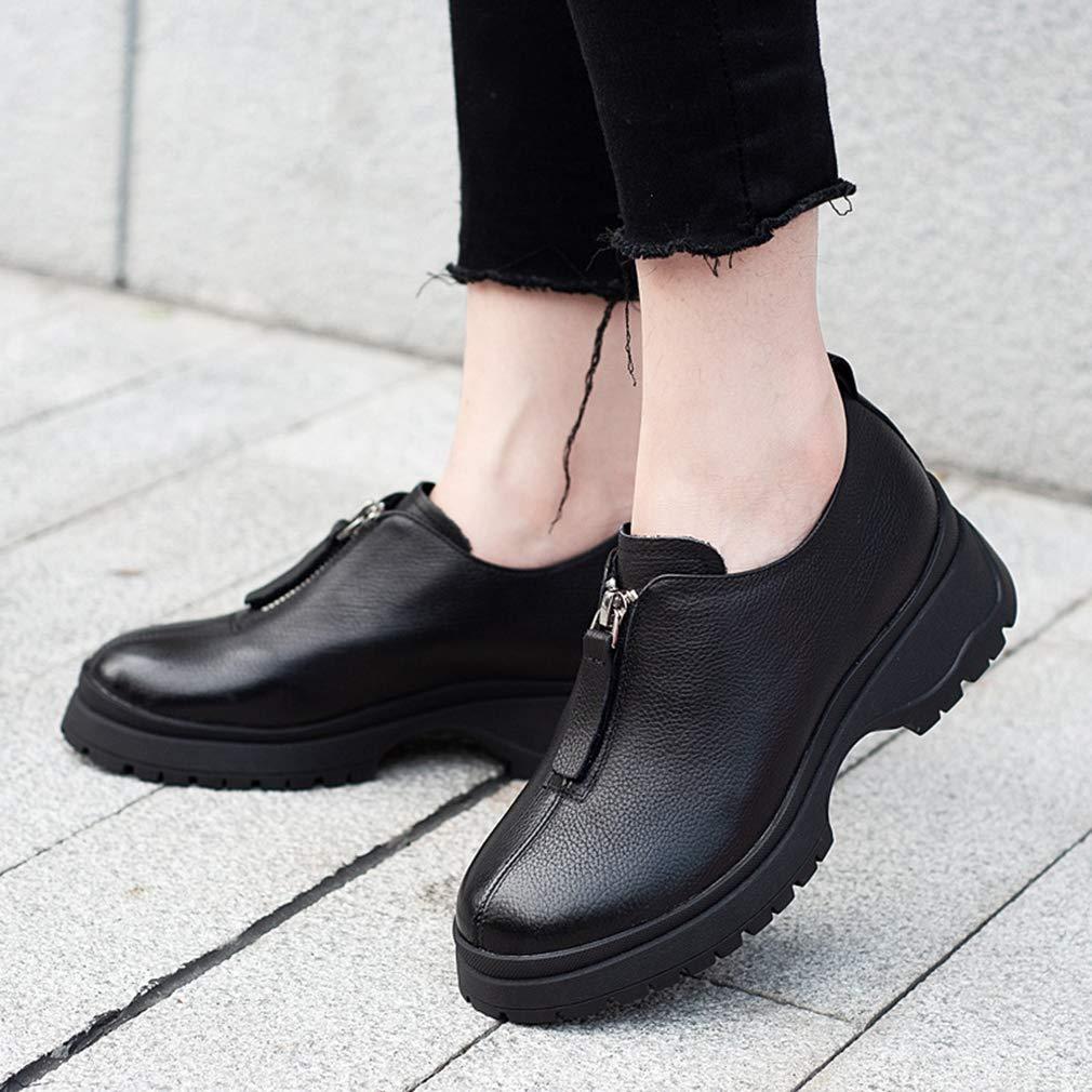 YAN Damenschuhe Frühlingsfall Lazy Schuhe Leder Leder Leder Low-Top Casual schuhe Mode Zip Comfort Schuhe Comfort Loafers schwarz 38 d476b7