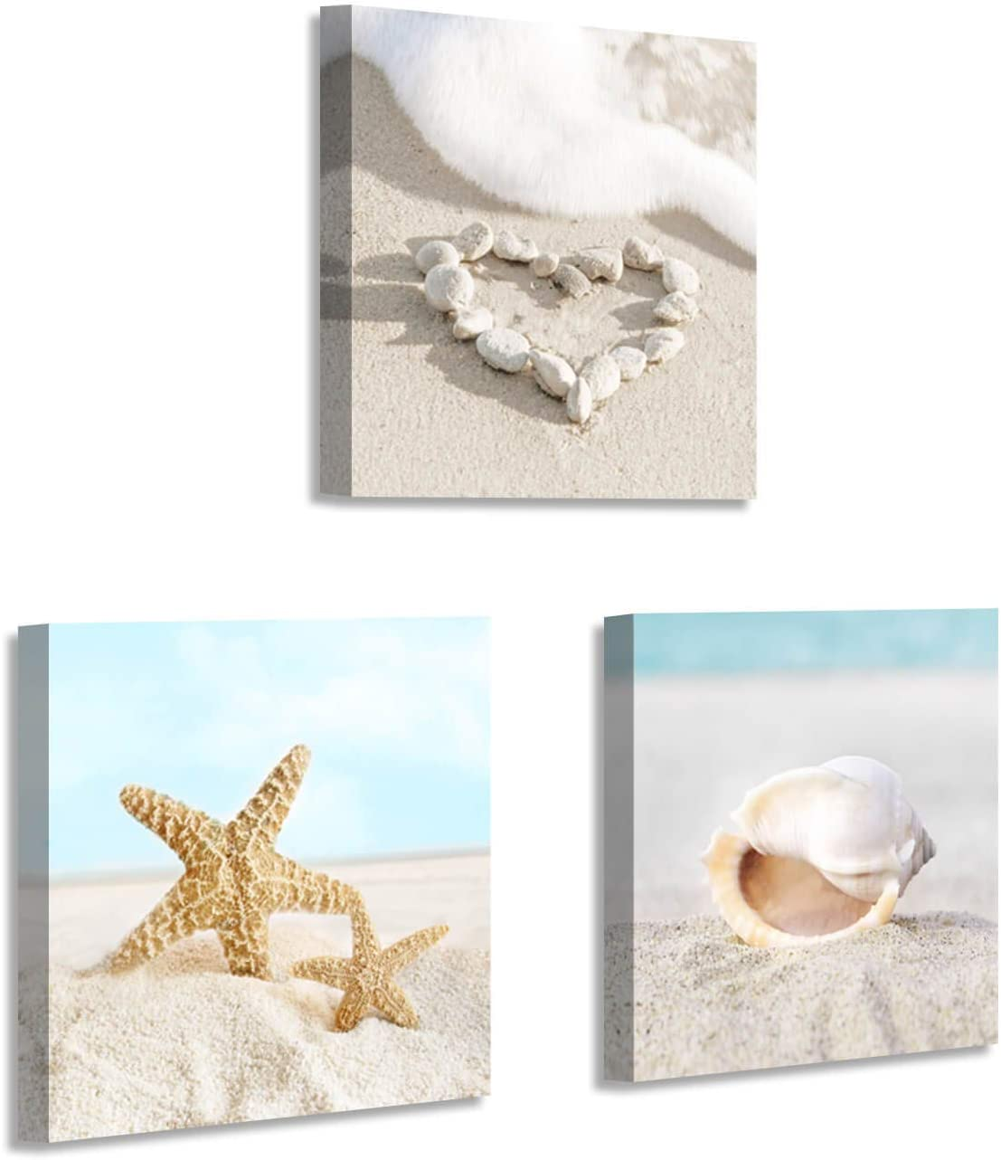Beach Canvas Wall Art Picture: Seashell and Starfish on Soft Sandybeach Painting Artwork for Home Decor (12'' x 12'' x 3 Panels)