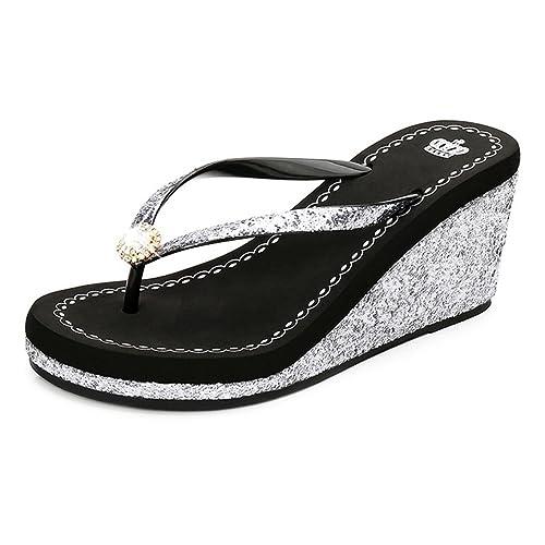 JITIAN Womens Fashion Wedges Plateau Sandalen Slide Anti-Slip High Heel Glitzer Pailletten Sommer Strandsandalen JRfgwdE7