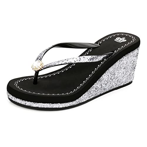 JITIAN Womens Fashion Wedges Plateau Sandalen Slide Anti-Slip High Heel Glitzer Pailletten Sommer Strandsandalen fZ1rFTZr