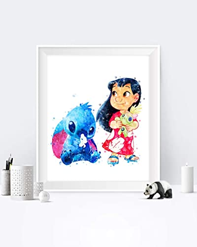 Amazon Com Lilo And Stitch Print Lilo Stitch Scrump Printable Watercolor Ohana Means Family Poster Ohana Birthday Party Wall Decoration Handmade