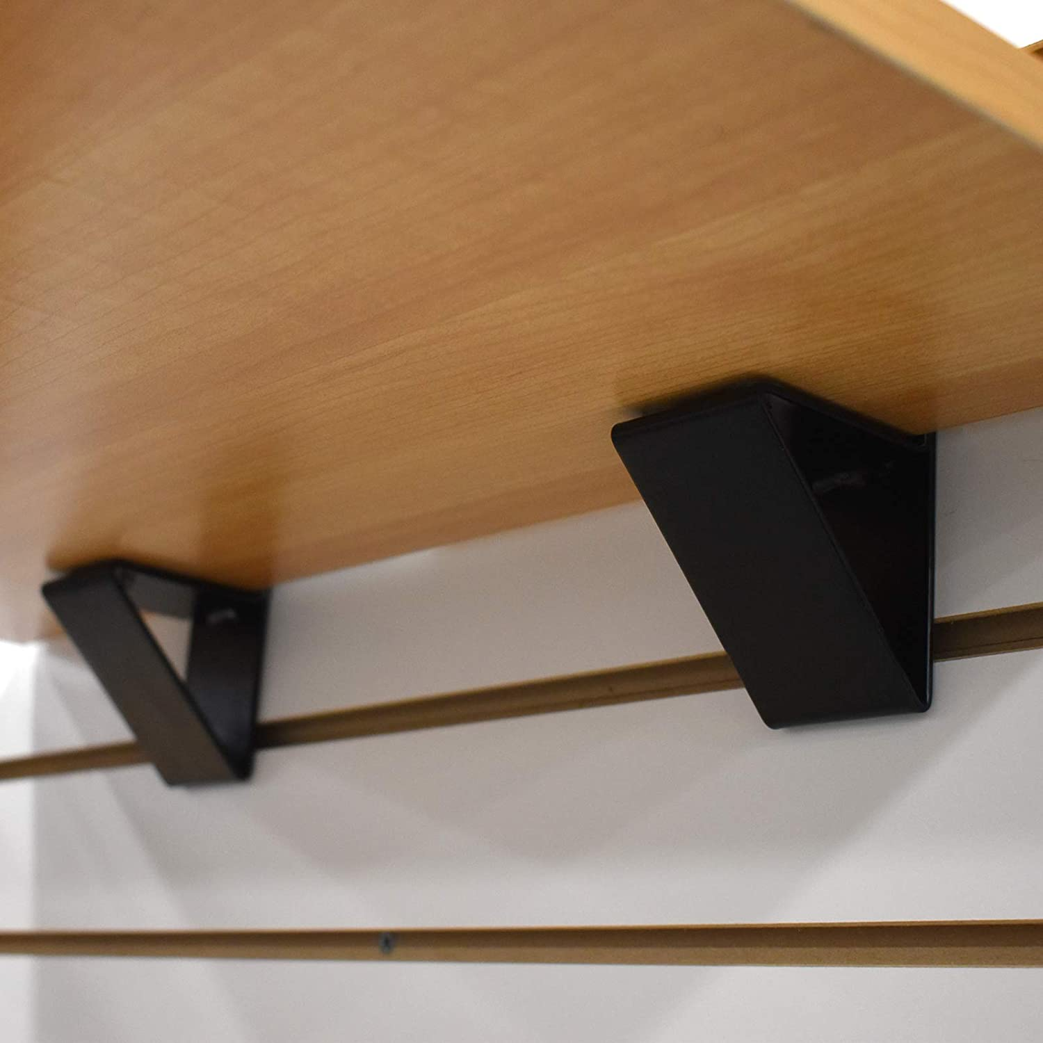 2 Pack Black Slatwall Wood Shelf Bracket Low Profile Support for 3//4 Thick Wooden Shelves up to 14 D