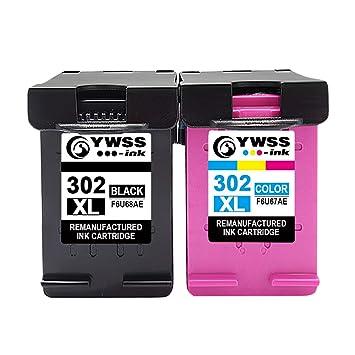 YWSS Remanufacturado Cartuchos de Tinta Reemplazo para HP 302 XL 302XL (1 Negro, 1 Tricolor) Compatible con HP Envy 4520 4527 4524 Deskjet 3630 2130 ...