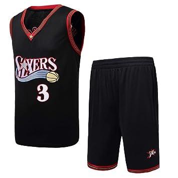 Basport Philadelphia 76ers No.3 Allen Iverson Jersey Uniforme de Baloncesto Masculino de la NBA: Amazon.es: Deportes y aire libre