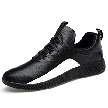 Mens / Boys Leder Sneaker Mode Casual Sportschuhe Leicht und leicht zu tragen Elastische Band Loafer Schuhe , white , 43