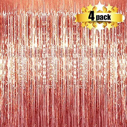Foil Curtains Backdrop - 4 Pack Photo Booth Backdrop for Wedding Birthday Party Stage Decor Tinsel Photo Booth Backdrop Metallic Curtains Party Supplies for Props(Rose Gold)]()
