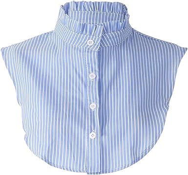 CADANIA Cuello Falso Falda Desmontable con Volantes a Rayas Ropa para Mujeres - 2# Azul y Raya Blanca